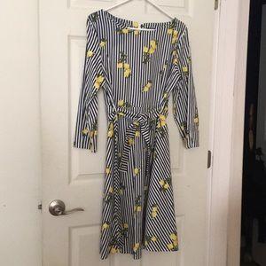 Summer cotton stretch dress with lemon & stripes